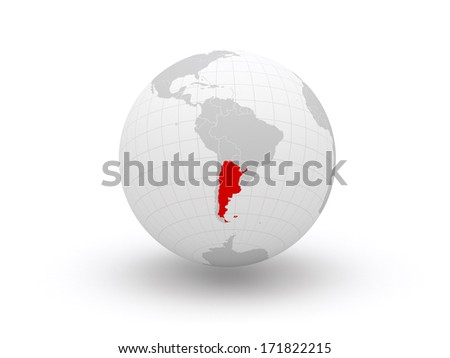 Globe. 3d. Argentina. Elements of this image furnished by NASA - stock photo
