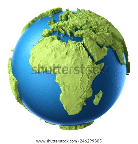 Globe 3d isolated on white background. Continent Africa. Elements of this image furnished by NASA