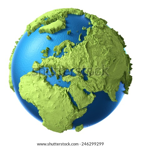 Globe 3d isolated on white background. Continent Europe. Elements of this image furnished by NASA - stock photo