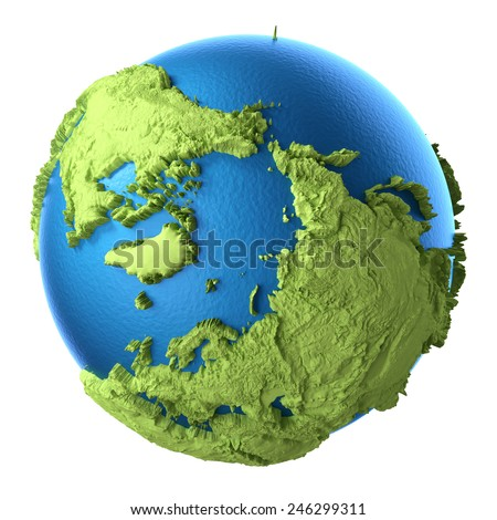 Globe 3d isolated on white background. North Pole. Elements of this image furnished by NASA - stock photo