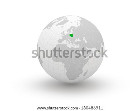 Globe. 3d. Poland. Elements of this image furnished by NASA