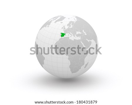 Globe. 3d. Spain. Elements of this image furnished by NASA