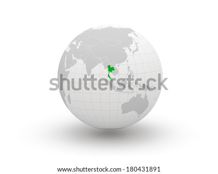 Globe. 3d. Thailand. Elements of this image furnished by NASA