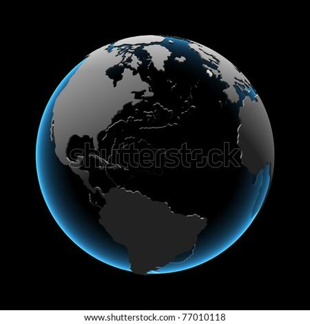 Globe (3D xray blue transparent) - stock photo