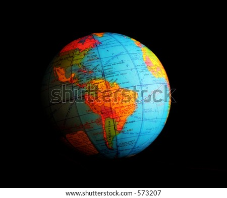 Globe, dark background