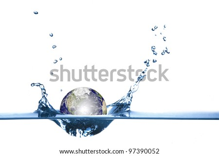 Globe drop in blue water with shallow depth of field isolated on white background - stock photo