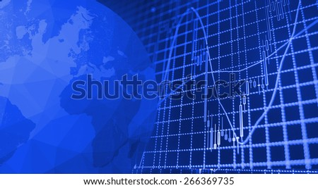 Globe Earth Icon and Stock market graph and bar chart price display. Data on live computer screen. Display of quotes pricing graph visualization. - stock photo