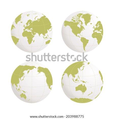 Globe earth icon set on white background. Rasterized bitmap version. - stock photo