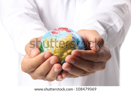 Globe ,earth in human hand