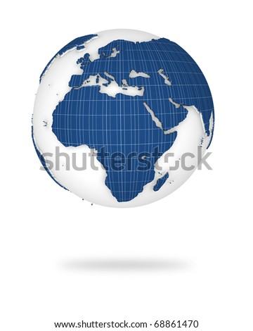 Globe earth in photovoltaic style. Europe and African lands. - stock photo