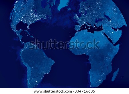 Globe Earth Model by night with city light spots visible. Map of Europe, America, Africa, Europe, Arabia, Asia. Elements of this image furnished by NASA. - stock photo