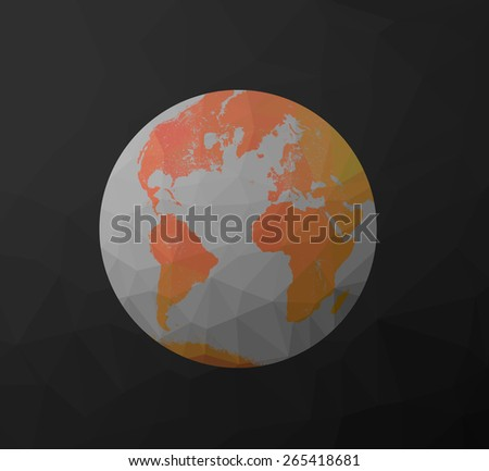Globe Earth model icon with polygon shapes and map of the continents of the world. Low poly background triangles and rectangles. Orange, red, gray color. - stock photo