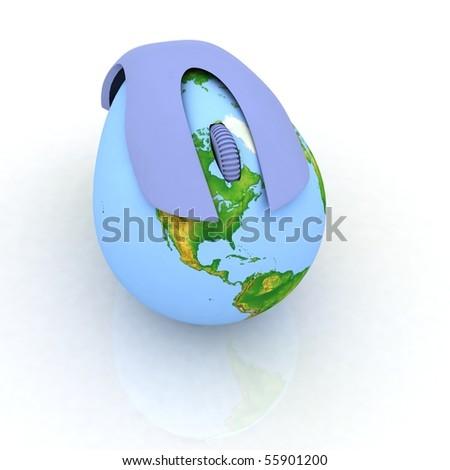 Globe Earth Mouse - stock photo