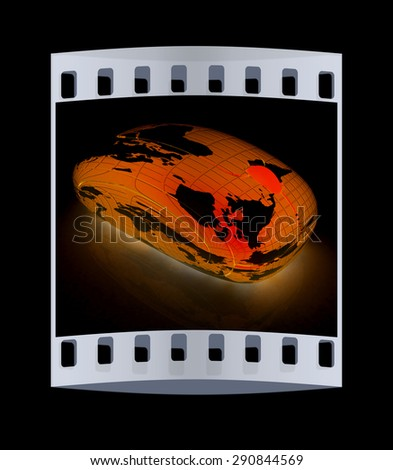 Globe Earth Mouse on a black background. The film strip - stock photo