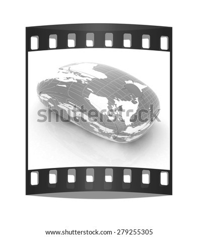 Globe Earth Mouse on a white background. The film strip - stock photo