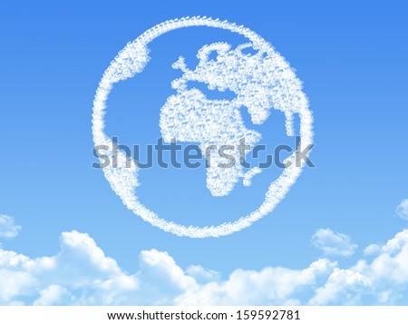 Globe earth shaped cloud - stock photo
