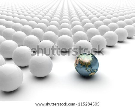 Globe Earth sphere standing out ball Asian - stock photo