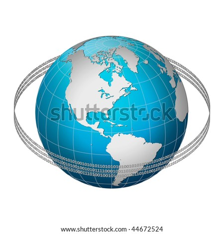 Globe earth with binary code ring, America centric - stock photo
