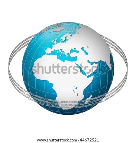 Globe earth with binary code ring, Europe centric - stock photo
