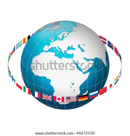 Globe earth with flag ring, Europe centric - stock photo