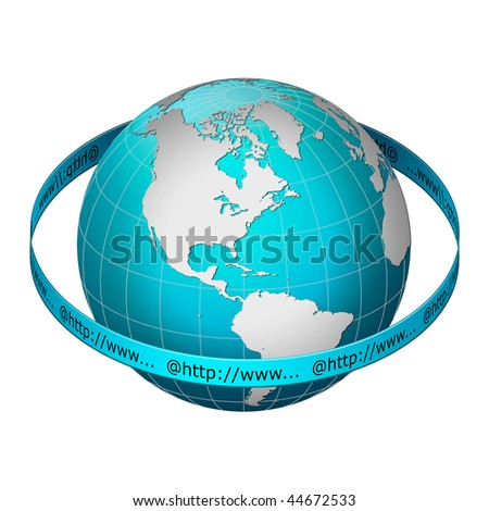 Globe earth with www address ring, America centric - stock photo