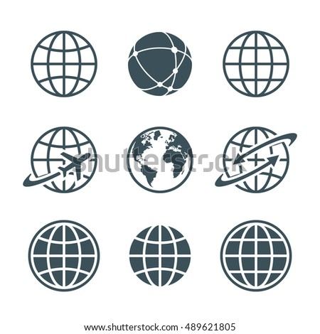 globe, earth, world icons set isolated on white background. ball wire, globe and airplane, globe with arrow