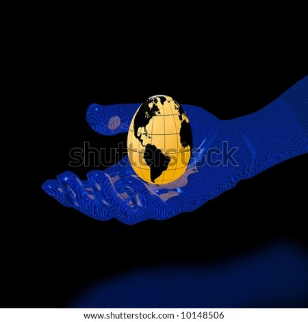 globe-egg on binary hand (high resolution 3D image) - stock photo