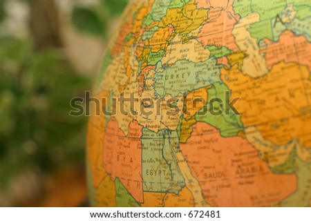 Globe Egypt Turkey - stock photo
