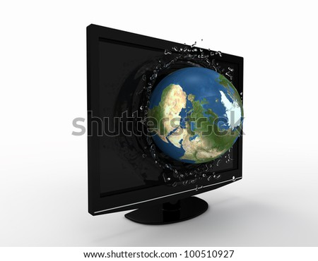 globe falling with splashes into the LCD tv screen. Elements of this image furnished by NASA