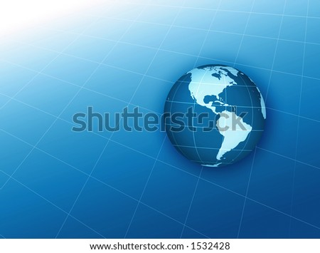 globe floating on grid background - stock photo