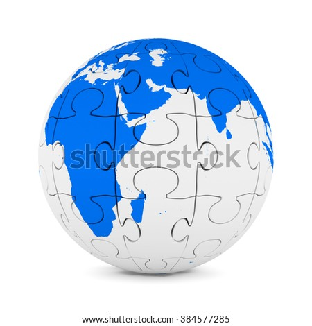 Globe from puzzle on white background. Isolated 3D image - stock photo