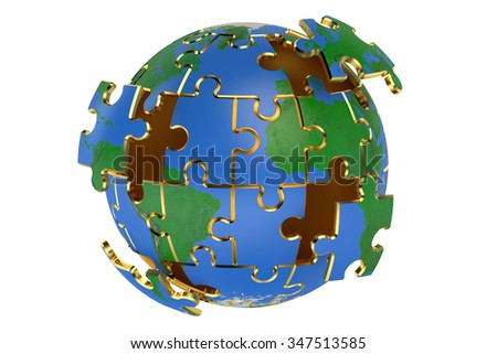 Globe from puzzles isolated on white background - stock photo