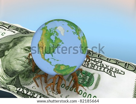 globe germinated roots in a dollar - stock photo