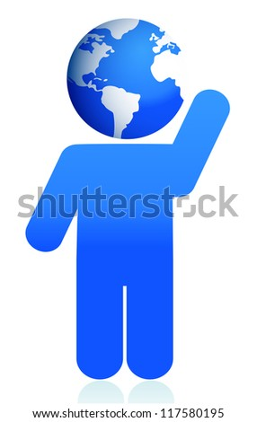 globe head icon illustration design over white - stock photo