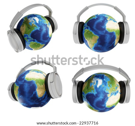 globe headphones image set(3d) - stock photo