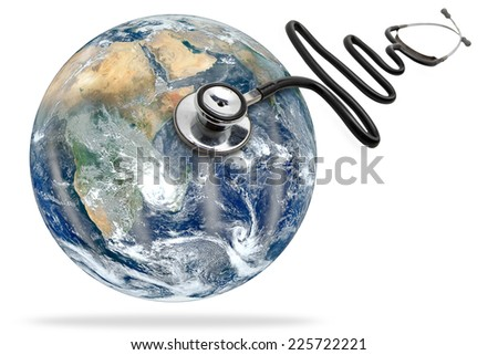 globe health and stethoscope diagnose on white background with clipping path Elements of this image furnished by NASA - stock photo