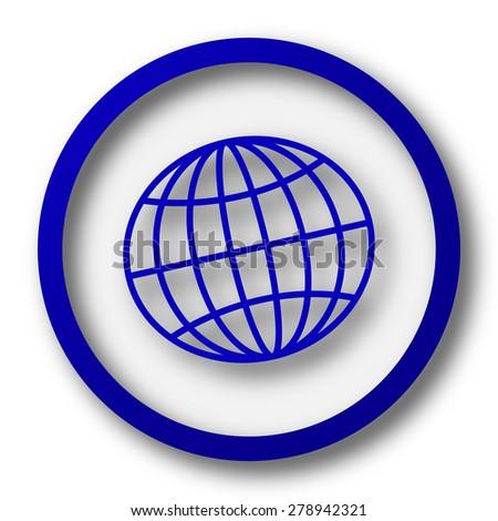 Globe icon. Blue internet button on white background.  - stock photo