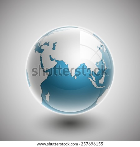Globe icon with smooth shadows and white map of the continents of the world - stock photo
