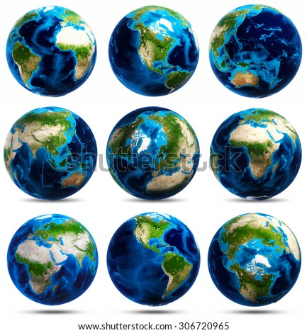 Globe icons set. Elements of this image furnished by NASA - stock photo