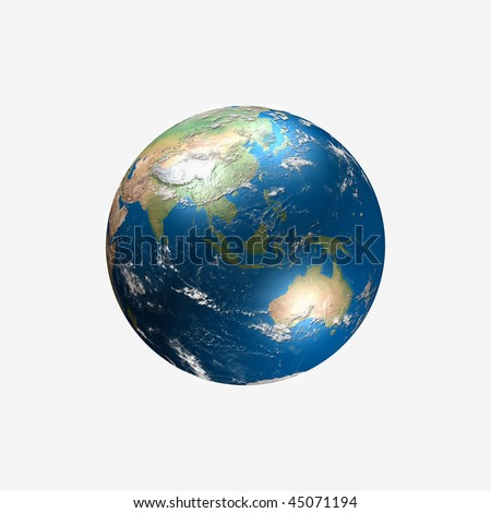 globe illustration made using real geographical data - view of asia and australia - stock photo