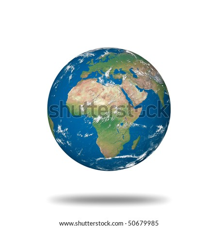 globe illustration made using real geographical data - view of europe and africa - stock photo