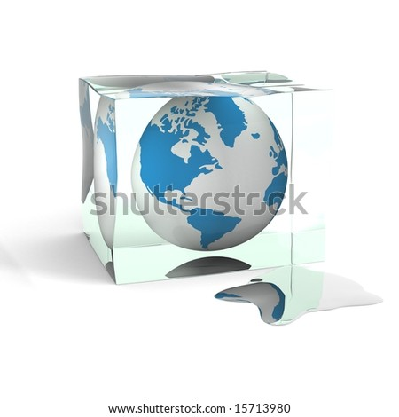 globe in a cube of an ice. 3D image