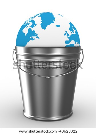 Globe in bucket on white background. Isolated 3D image - stock photo