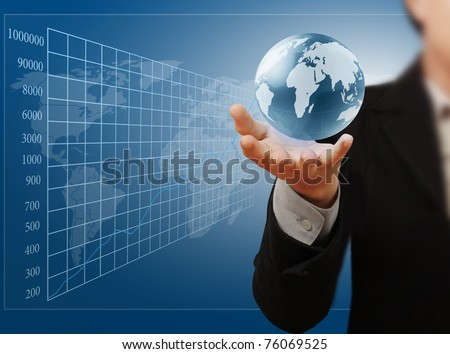 Globe in hand, businessman - stock photo
