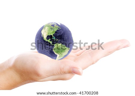 Globe in hand on an isolated background