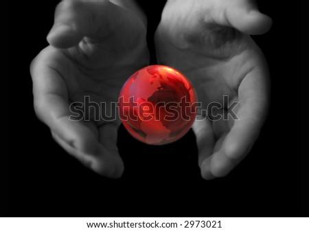 Globe in hands - stock photo