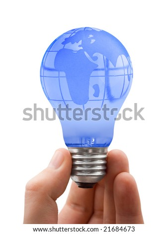 Globe in lamp isolated on white background - stock photo