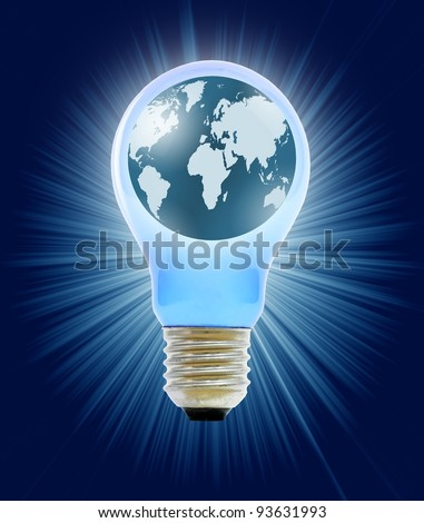 globe in light bulb - stock photo