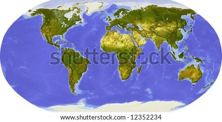 Globe in Robinson projection, centered on Africa. Shaded relief colored according to dominant vegetation. Shows polar and pack ice, large urban areas. Isolated on white, with clipping path. - stock photo