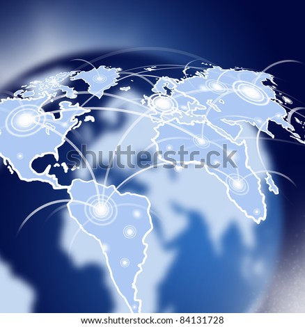 Globe in space with global network - stock photo